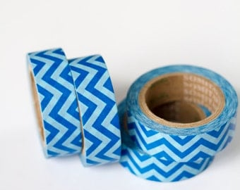 50% OFF SALE - 1 Roll of Blue Chevron Washi Tape / Decorative Masking Tape (.60 inches x 33 feet)