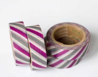 1 Roll of Purple, Gray, and White Stripe Washi Tape / Decorative Masking Tape (.60 inches wide x 33 feet long)