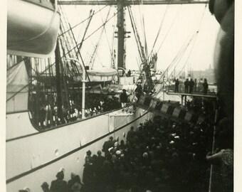 "Vintage Photo ""Voyage to a New Life"" Boarding Ship Snapshot Photo Old Black & White Photograph Found Photo Paper Ephemera Vernacular - 141"