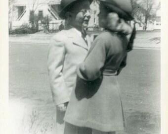 "Vintage Photo ""First Kiss"" Children Snapshot Photo Old Antique Photo Black & White Photograph Found Photo Paper Ephemera Vernacular - 04"