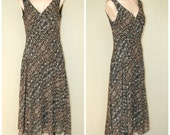 SALE Vtg 80s 90s Animal Print Asymmetrical Boho Grunge Drop Waist Long Dress sz 8 M SALE