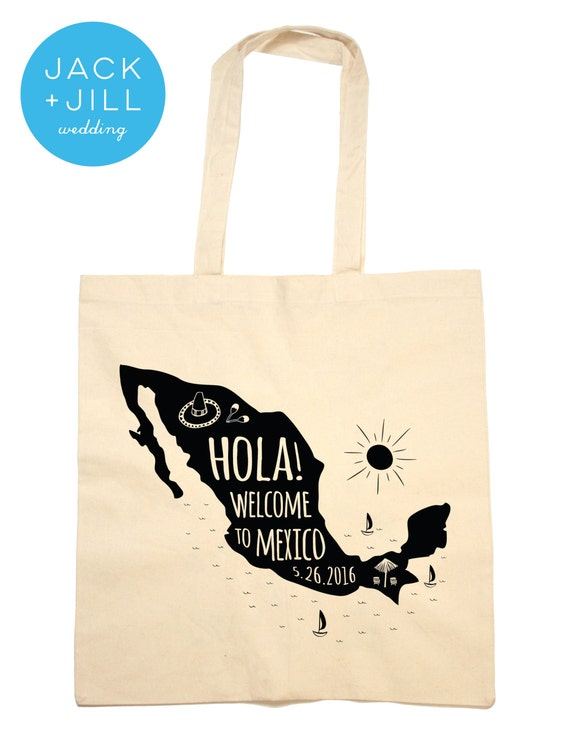 Wedding Gift Bag Ideas Mexico : Tote Bag Wedding Favor Mexico Welcome Bag by jackandjillwedding