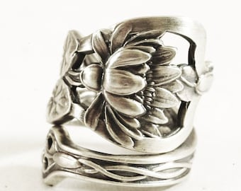 Stunning Pond Lily Ring, Lotus Flower Ring, Sterling Silver Spoon Ring, Pond Lilly, Art Nouveau Ring, Handmade Jewelry, Adjustable Ring Size
