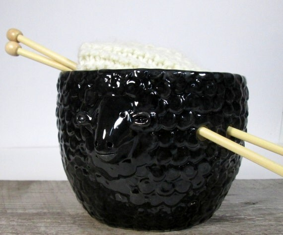 Yarn Bowl Black Sheep Knitting bowl Ready to by ceramiquecote