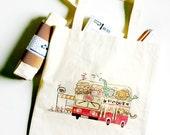 Bon Voyage! Our Childhood Double Decker Bus cotton canvas tote bag