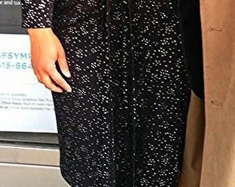 CUSTOM Wrap Around Dress, Black Sparkle Knit Fabric, V Neck, DRAMA