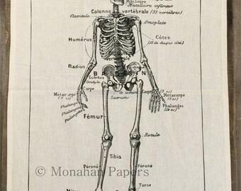 French Skeleton Tea Towel - Halloween - Skeleton - European - Medical - Doctor - Gift