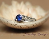 Filigree Blue Sapphire Promise Ring in Sterling Silver - Unique Victorian-style Sapphire Engagement Ring - September Birthstone