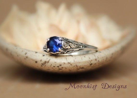 Filigree Blue Sapphire Promise Ring in Sterling Silver - Unique  Victorian-style Engagement Ring in Blue Sapphire - September Birthstone