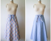 Vintage Wrap Skirt / 70s Reversible High Waist Skirt in Chambray Blue and Pink Plaid