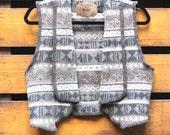 RESERVED RESERVED Wool Southwestern Vest Ethnic Vintage Gilet Festival Woven Print Vest Cabin