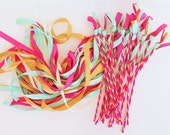 50 Tie the Knot  Wedding Ribbon Wands in YOUR COLORS with BELLS - Colorful wedding ceremony exit idea