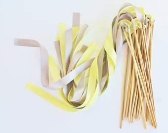 50 Magical Wedding Ribbon Wands in YOUR COLORS with BELLS (shown in silver and baby maize and silver bells) Colorful wedding ceremony exit