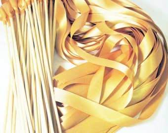 50 Magical Wedding Ribbon Wands IN YOUR COLORS (shown in deep gold) Add color to your wedding ceremony exit