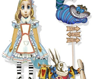 printable  Alice in wonderland paper dolls, white rabbit and Cheshire cat articulated, collage sheet craft supply