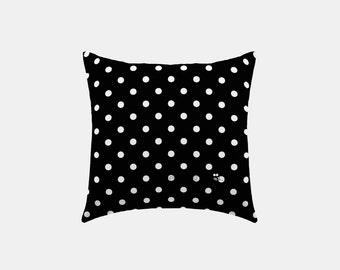 Square Pillow Cover - Black Polka Dot - S1