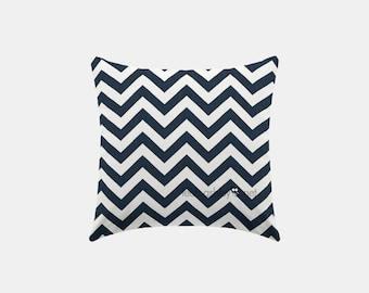 Square Pillow Cover - Navy Chevron - S1
