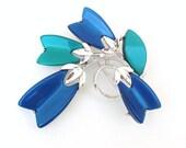 Vintage Lisner Brooch | Thermoset Pin | Tulip Flower Brooch | Lucite Pin | Modernist Brooch | Blue Green Brooch