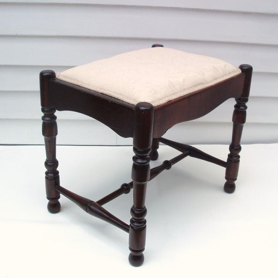 Vintage Vanity Stool Wooden Bench Foot Stool Upholstered Wood
