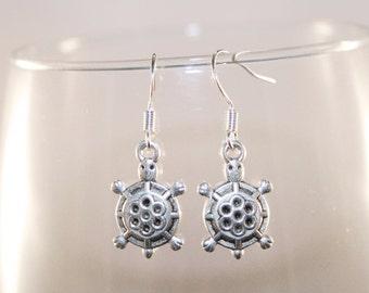 Turtle charm earrings- Tibetan Silver