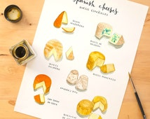 Spanish cheeses Art Print - Watercolor food Illustration