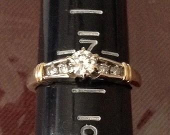Stunning 14 k yellow and white GOLD DIAMOND engagement RING size 7