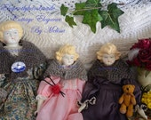 Doll shawl Hand knit Vermont wool  to fit 10 to 18 inch Tasha Tudor Style Dolls with Miniature Doll accesssories