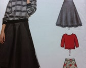 Simplicity NEW Look S0606 Sizes 8 10 12 14 16 18 20 Multi Sizes Uncut SKIRT and Tops Long Sleeve or Short Sleeve Skirt Overlay Slip Ruffle