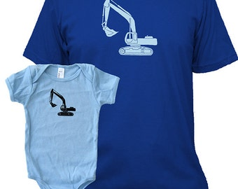 Matching Father Baby Shirts, Digger Excavator T shirts, Father's Day gift, new dad shirt, father daughter, gift for dad from baby, son set