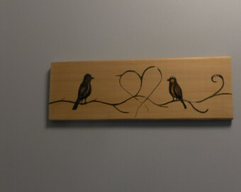 Love birds portrait on cedar, pyrography on scrap two birds one heart, perfect image for wedding gift custom piece.