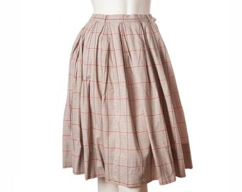 Vintage girls 50s 60s plaid circle skirt / A-line skirt -- childrens size small / size girls small / adult xxs