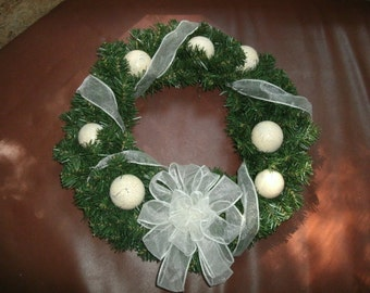 Cottage Chic Artifcal Evergreen Wreath-Antique White Crackle, Solid Wood Ornaments- FREE SHIPPING US Only - Ready To Ship
