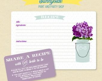 75 Recipe Card Set with Mason Jar  - You Choose Flower - Recipe Shower Set