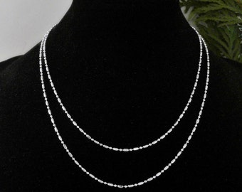 """925 Sterling Silver 1.4mm 27.5"""" Hexagon Chain Necklace              CC-81084"""