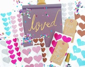 Gold, Silver, Bronze, Pink, Hot Pink, Aqua Blue, Glitter Heart Seal Stickers, perfect for happy mail, planners, stationary & packaging