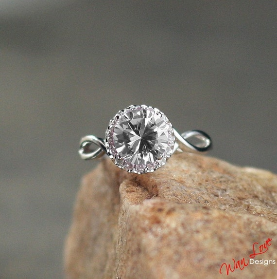 Grey Lab & Natural Diamond Halo Engagement Ring by WanLoveDesigns