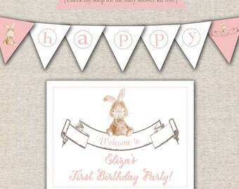 Bunny Birthday Party Kit - printable invitation - thank you card - banner - sign - party circles - favor tags - food/drink label