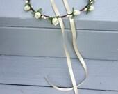 Spring Wedding flower halo butter cream ivory Woodland Bridal floral crown hair wreath silk rosebuds flower girl accessories garland