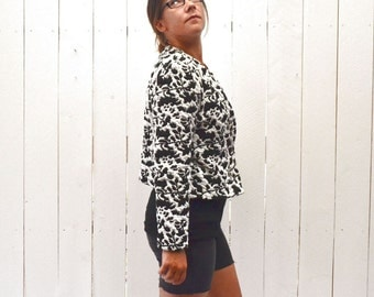 Quilted Cropped Jacket 1960s Avant Garde Black White Vintage Abstract Print Coat Medium