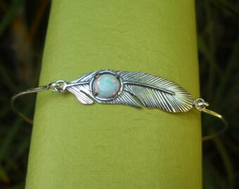 Silver Bracelet - Silver bangle - Sterling Silver Opal Bangle - Opal Bracelet -  Opal Bangle - Feather Bracelet