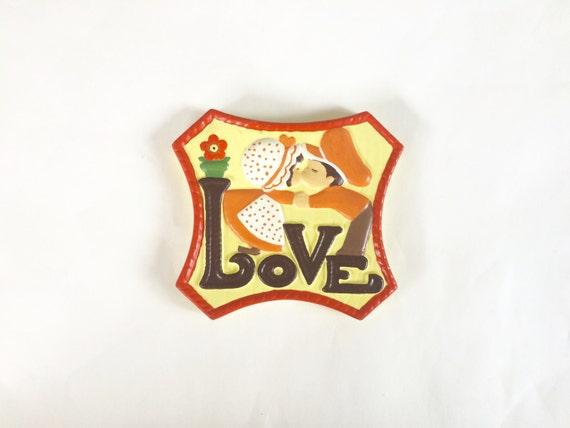 Vintage 1970s ceramic kitsch / retro holly hobbie LOVE wall hanging