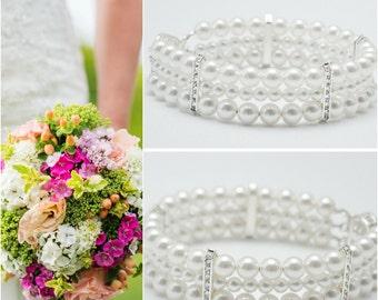 Pearl Bride Jewelry, Three Strand Pearl Bracelet with Swarovski Crystals, Pearl Bridal Jewelry, Bridal Bracelet, Pearl Bride Bracelet