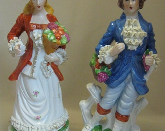 Victorian Figurines Brinn's Porcelain Hand Decorated  Flower Ruffles Gold Vegetables 1986