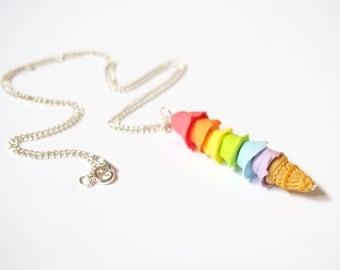 Pastel Ice Cream Rainbow Ice Cream Necklace ( pastel necklace  ice cream pendant food miniature mini food necklace polymer clay )