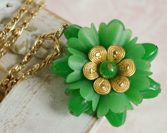 Vintage Necklace with Golden Chain and Green Plastic Flower Pendant