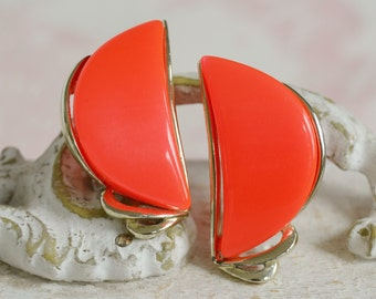 Vintage Clip-On Earrings with Neon Orange Thermoset Crescent Moons by Star