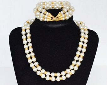 Vintage Bracelet and Necklace Set with Faux Pearls and Gold Tone Metal