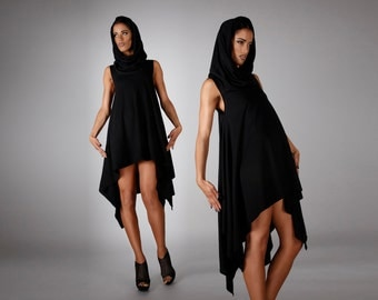 Hooded Asymmetrical Dress in Soft Cotton, Maternity Clothing, Avant Garde Fashion, Scandinavian Design, by LENA QUIST