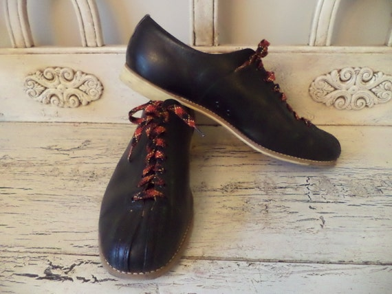 vintage mens black leather bowling shoes s size 13