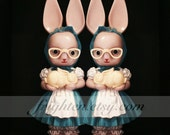 Creepy Still Life Plastic Twin Bunny Rabbit Easter Doll Photography Print, Come Play With Us, The Shining Twins Art Print